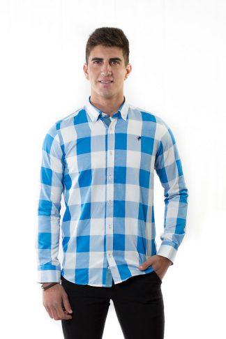 Camisa Cuadros algodón azul
