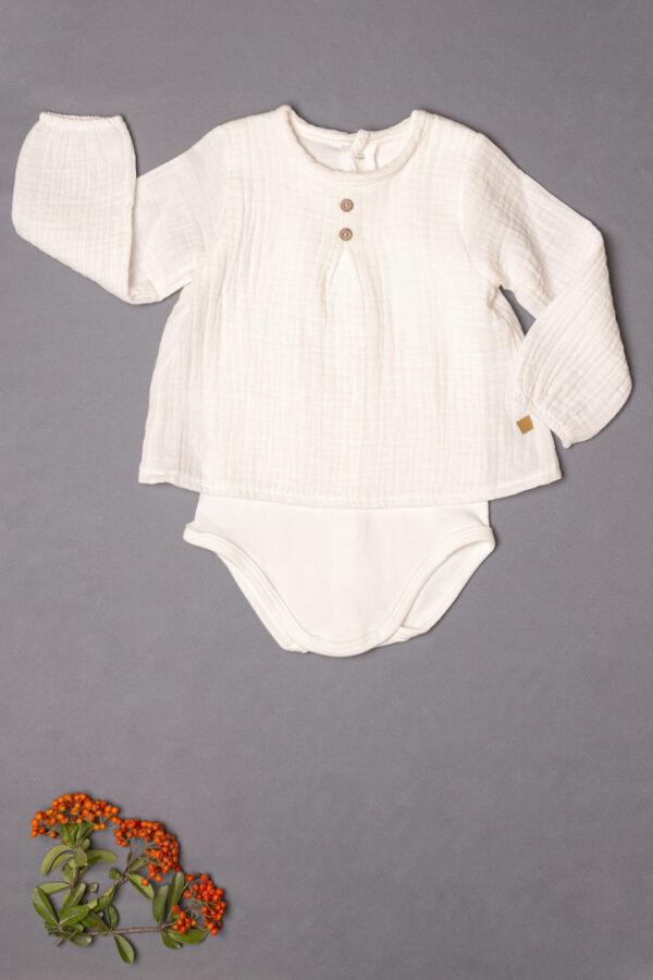 Camisa de bambula bebé con body interior color beige