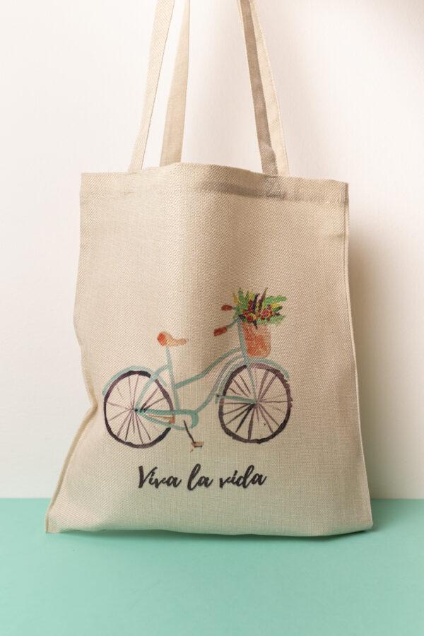 Tote bag, bolsa de tela con dibujo bicicleta y frase, Vive la vida