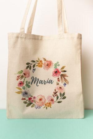 tote bag , bolsa de tela con corona de flores estampada y nombre personalizado